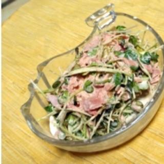 ちょっと一品欲しい時に!貝割れとツナのサラダです。