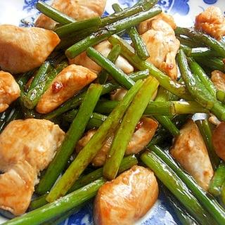 鶏ささみ&ニンニクの芽で❤オイスターソース炒め♪