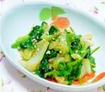 白菜とほうれん草のからしごまポン酢和え