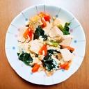 人参とほうれん草と高野豆腐の卵とじ煮