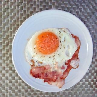 朝食♪イタリアンなベーコンエッグ