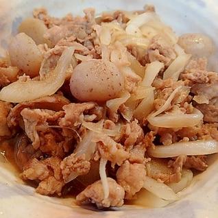 ❤豚肉とタマネギと丸こんにゃくのすき焼き風炒め❤