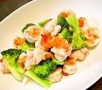 海老とブロッコリーの塩炒め