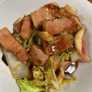 ベーコンと白菜の味噌ソース炒め