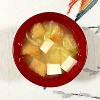 小揚げとキャベツのお味噌汁