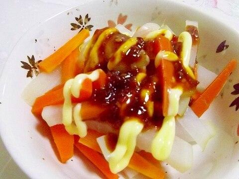 レンジで簡単♪根菜の肉味噌マヨネーズ