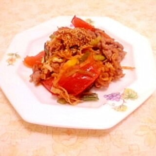 スパイスで♪牛肉とトマトの炒め物