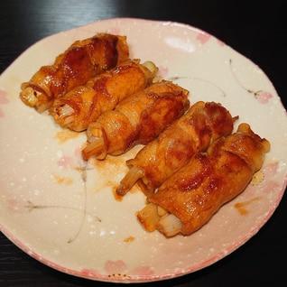 バターポン酢でえのきとねぎの豚肉巻き
