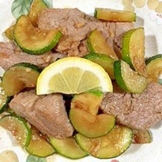 豚ヒレ肉とズッキーニの炒め物