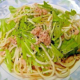 ツナと水菜の和風スパゲティサラダ
