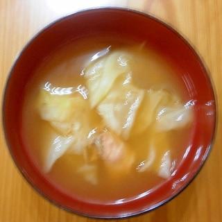 鱒とキャベツの味噌汁