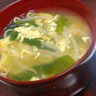 もやしとわかめの玉子スープ