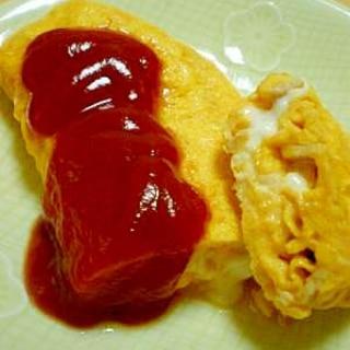 朝食に*チーズ風味のふわとろハムオムレツ。