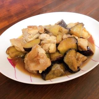 冷凍揚げナスと鶏肉の甘酢照り焼き
