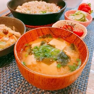 フワフワ高野豆腐とワカメのお味噌汁♪