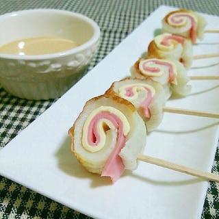 一口おつまみ♡竹輪のハムチーズ巻き串