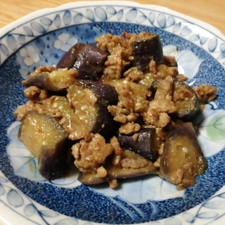 豚ひき肉となすの味噌炒め