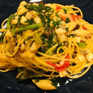 太刀魚と菜の花とぶなクイーンのスパゲティ