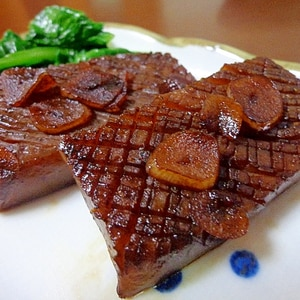 香りのガーリック醤油バター蒟蒻ステーキ♡