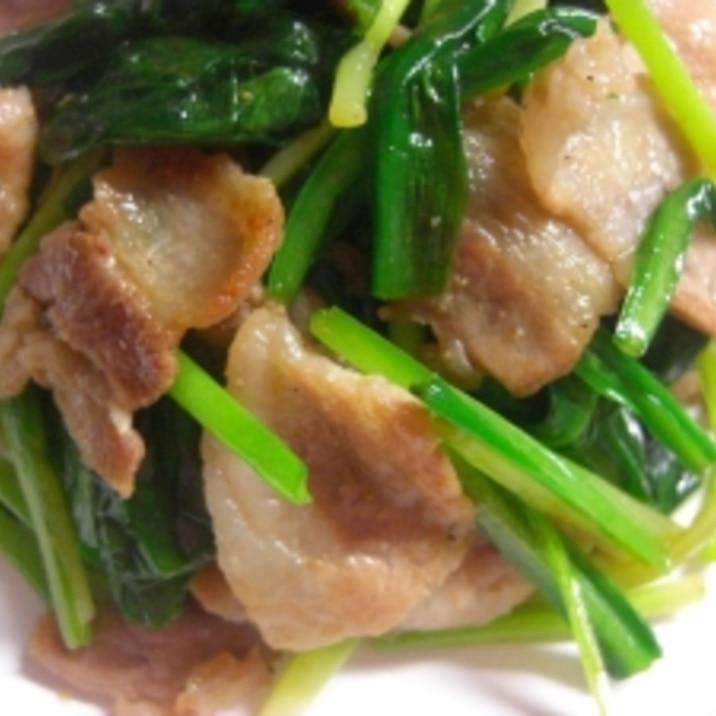 行者ニンニクと豚バラ肉の炒め物