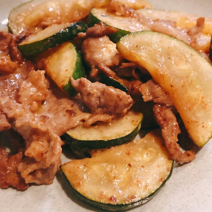 豚肉とズッキーニのマヨポン酢炒め