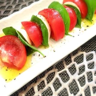 簡単!カプレーゼ(トマト・バジル・モッツァレラ)