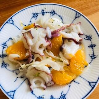 茹でタコと新玉ねぎ、八朔のサラダ