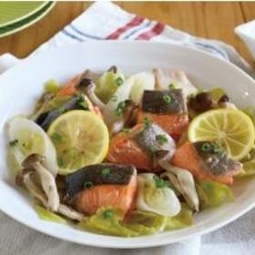 【簡単ヘルシー♪】鮭と野菜のさわやかレモン蒸し