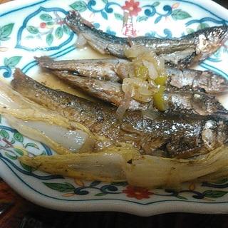 小鮎の白菜ネギ煮