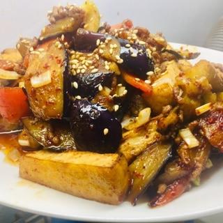★今夜の定食:「茄子と厚揚げの挽き肉炒め」
