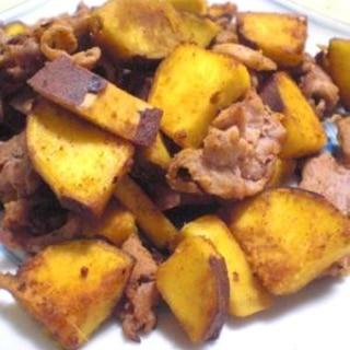 さつま芋と豚肉の生姜炒め
