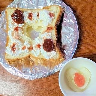 ●ママ&ベビーお揃い♪苺チーズトースト&苺パン粥●