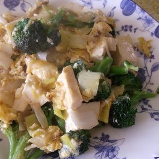 豆腐とブロッコリーの卵とじ炒め