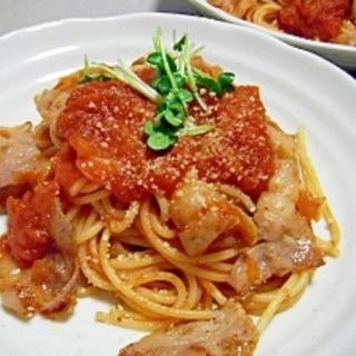 こってり♪豚バラ肉のトマトソーススパゲティ♪