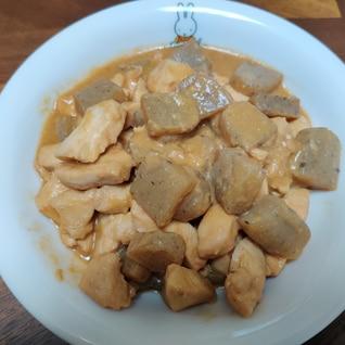 鳥肉とコンニャクの味噌炒め