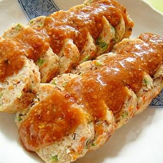 レンジで和風チキンミートローフ☆ゴマ味噌ソースがけ