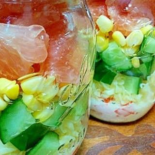 塩レモンペーストドレッシングでメイソンジャーサラダ
