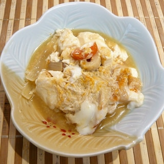 豆腐とちくわと揚げの卵とじ