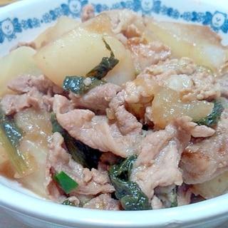 カブと豚肉の煮物