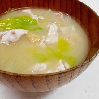 簡単ヘルシー味噌汁(^^)豚肉+レタス+生姜♪