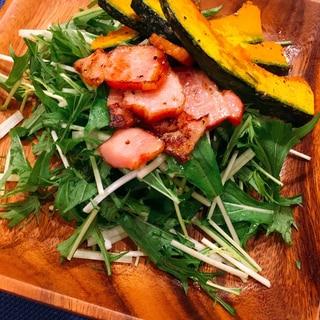 水菜と焼きかぼちゃのサラダ♪