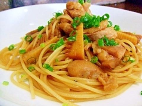 筍(タケノコ)と鶏肉の和風パスタ