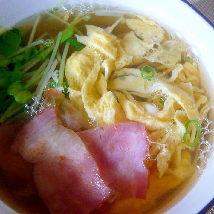 ♥ 錦糸卵&ベーコン&カイワレ入りお蕎麦 ♥