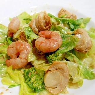 ベビーホタテ・エビ・ブロッコリー・レタスサラダ