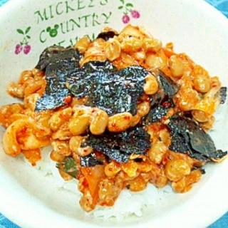 納豆の食べ方-キムチ&味付けのり♪