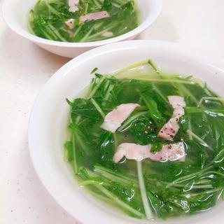 簡単!(^^)たっぷり水菜とベーコンのスープ♪