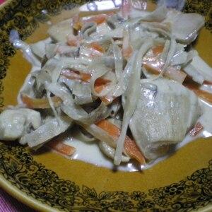 鶏と牛蒡の味噌クリーム煮
