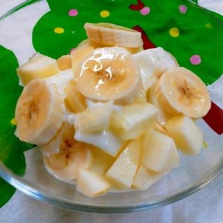 朝食ヨーグルト♪リンゴとバナナで・・
