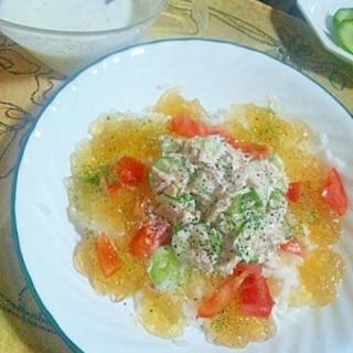 ジュレメシ(冷製スープかけご飯コンソメジュレ乗せ)