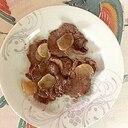 牛タン、にんにく、レモンペーストの炒め物